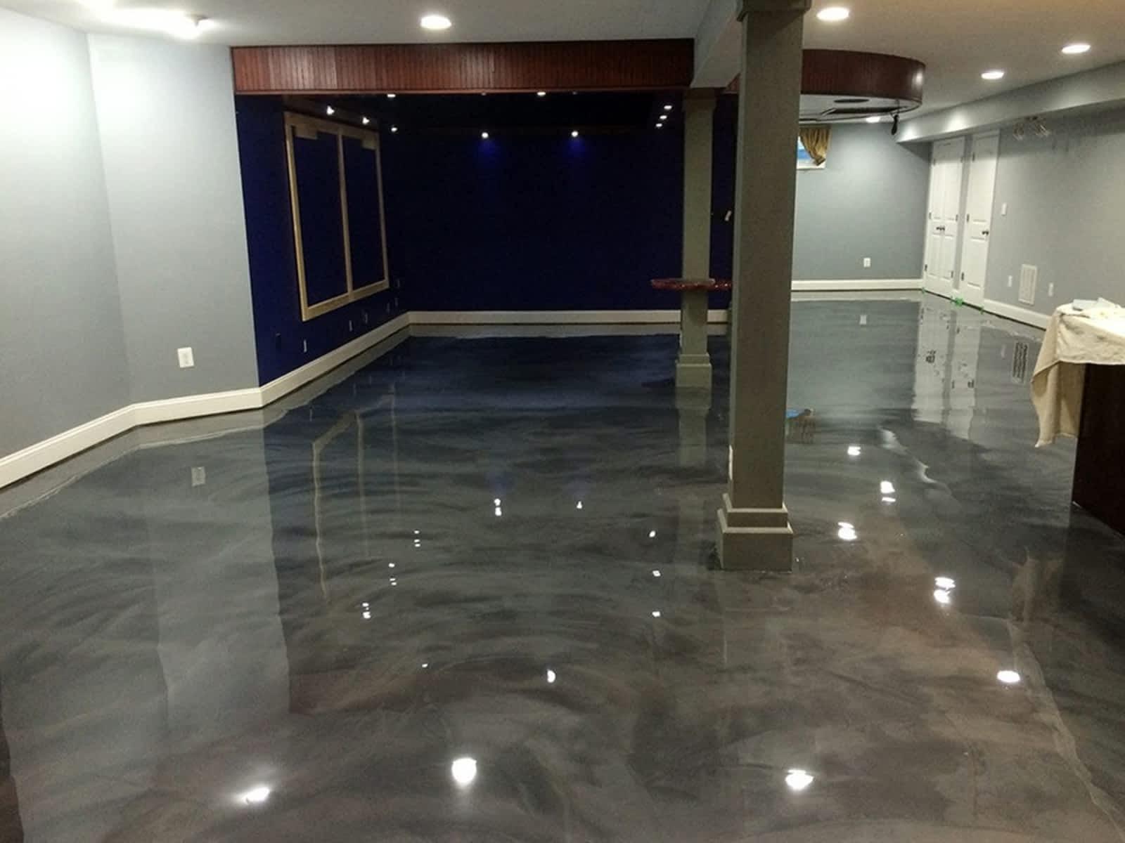 basement with metallic epoxy flooring